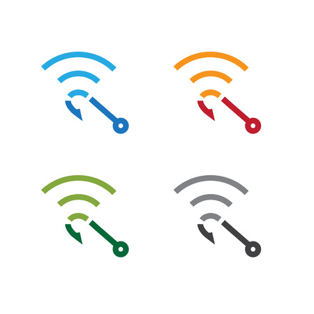 set of hook with symbol wi fi vector design template