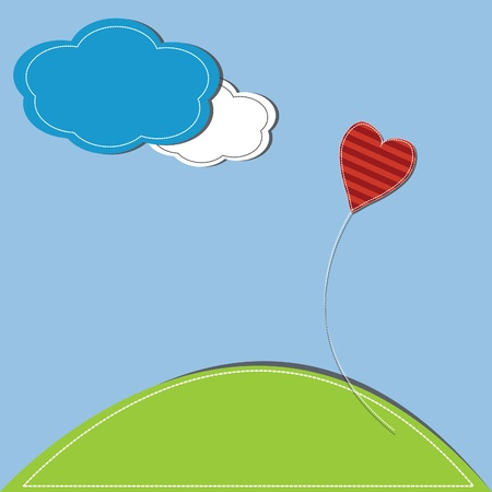 vector illustration of heart against a blue sky and clouds