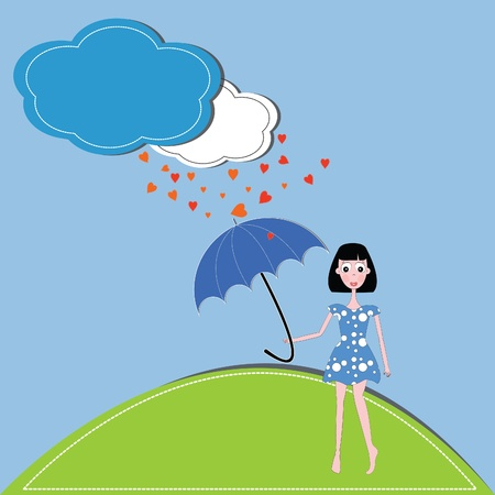 vector illustration girl,hearts and umbrella against a blue sky and clouds