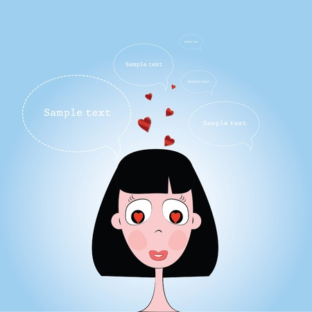 vector illustration of a girls head with hearts in his eyes on a blue background
