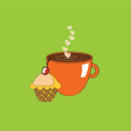 vector illustration cup and cake