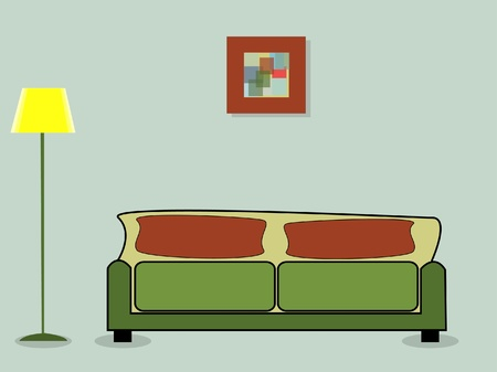 vector illustration of a room with a sofa, lamp and picture