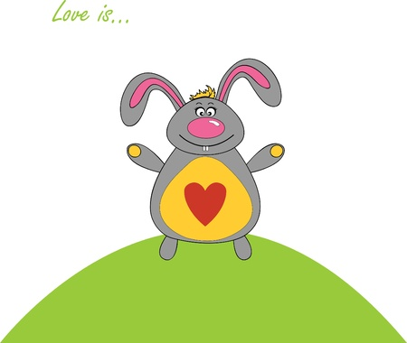 vector illustration of a rabbit with a heart of Valentines Day