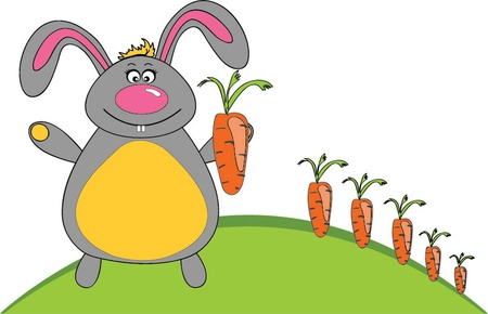 vector illustration jolly rabbit and carrot