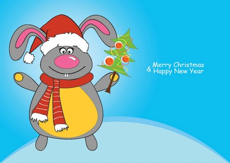 vector illustration of a New Year Bunny dressed as Santa Claus
