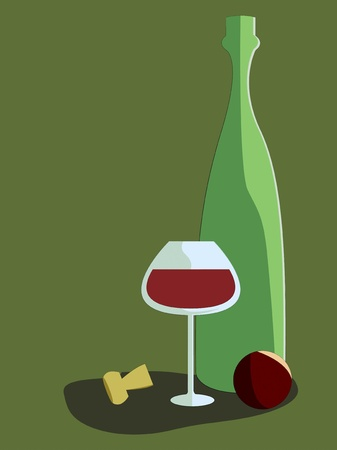 vector illustration of wine, glass and an orange Illustration