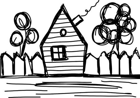 vector illustration of a house and a tree Illustration