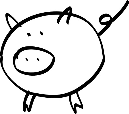 vector illustration pig isolated on white