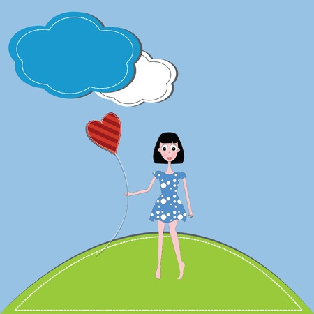 vector illustration girl and hearts  against a blue sky and clouds Vector