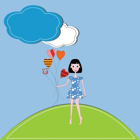 vector illustration girl and hearts  against a blue sky and clouds Stock Vector - 13269209
