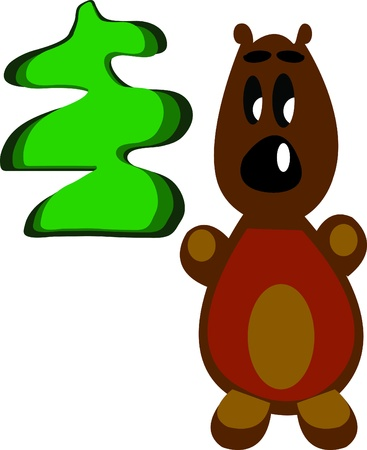 vector illustration of a bear and tree Vector
