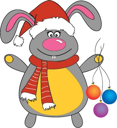 vector illustration of a New Year Bunny dressed as Santa Claus  Vector