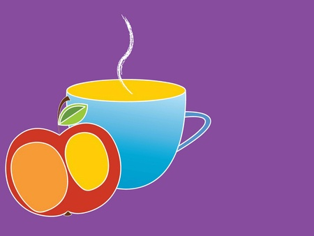 vector illustration of the cup and an apple on a purple background Illustration