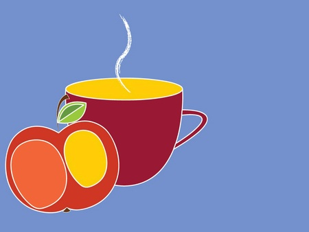 vector illustration of a cup and an apple on a blue background Illustration