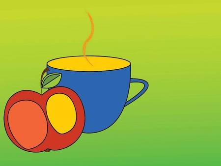 vector illustration of a cup and an apple on a green background