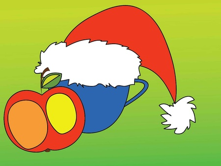 vector illustration of an apple and a cup in the cap of Santa Claus