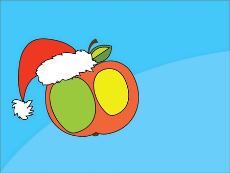 vector illustration of an apple in the hat of Santa Claus