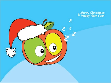 vector illustration of an apple with eyes dressed as Santa Claus