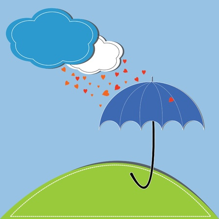 vector illustration of heart and umbrella against a blue sky and clouds Vector