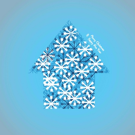 vector illustration Snowflakes house  Vector