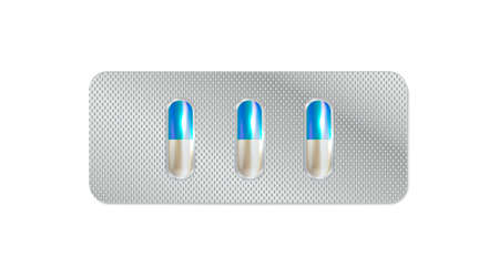 Pharmaceutical blister pack isolated on transparent background. 3D illustration pill blister.