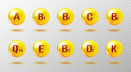 Vitamins set. Pharmaceutical icons. Vitamin A, B1, B2, B6, B9, B12, C, D3, E, Q10, K. Vitamin complex.