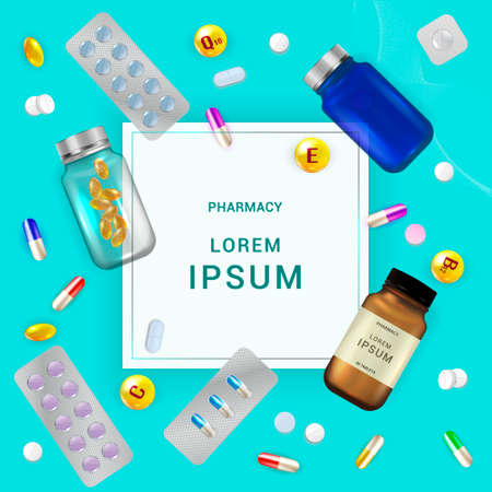 Pharmacology background, medicine card, Pharmacy Posters, healthcare presentation, Medication Concept. Template design with drugs and Pills, capsules. Copy space