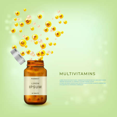 Vitamin complex. Multivitamins poster, flyer design template with copy space. Vitamin balls into the bottle package. Explosion of vitamins.