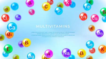 Essential vitamins and minerals. Multi Vitamin complex. Poster with different color glossy vitamin and mineral pills capsules. Illusztráció
