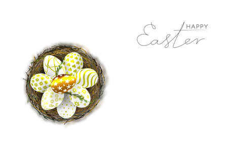 Happy Easter day. Easter banner template with Easter eggs in the nest. Vetores