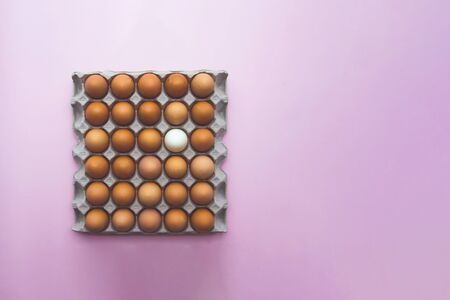 Close up of chicken eggs in carton box on pink background, view from the top, enough place for the text on a side