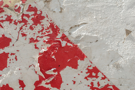 chipped paint: chipped paint on an old plaster wall, landscape style, grunge concrete surface, great background or texture Stock Photo