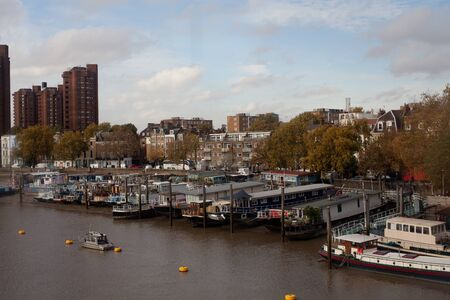 houseboats on the River Thames near Chelsea in London, England, UK Stock fotó