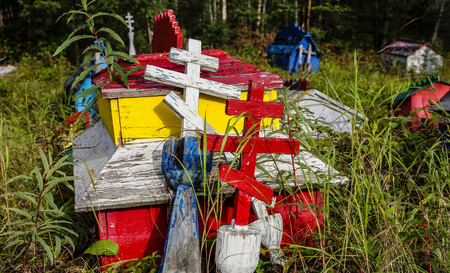 Russian Orthodox cemetery with its colorful graves in Eklutna, Alaska