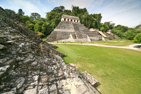 yucatan: Temple of the Inscriptions. Ruins of Palenque in the Mayan city in Chiapas. Building of Mayan origin rises out of the jungle.