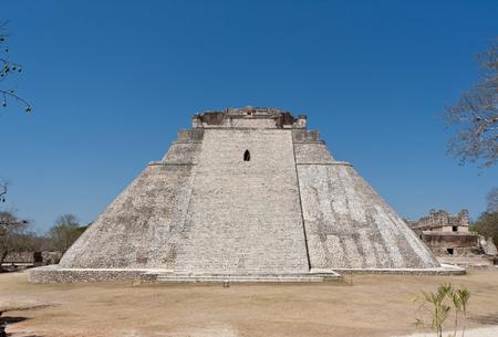 Pyramid of the Magician. Prehistoric Mayan pyramids in Uxmal, Yucatan, Mexico. Mesoamerican step pyramid. UNESCO World Heritage site.