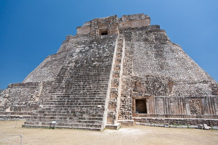 Pyramid of the Magician. Prehistoric Mayan pyramids in Uxmal, Yucatan, Mexico. Mesoamerican step pyramid. UNESCO World Heritage site.