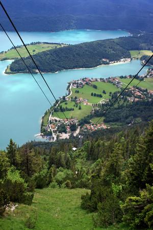 kabelbaan bij meer Walchensee in Beieren Stockfoto