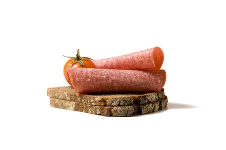 brood met salami Stockfoto