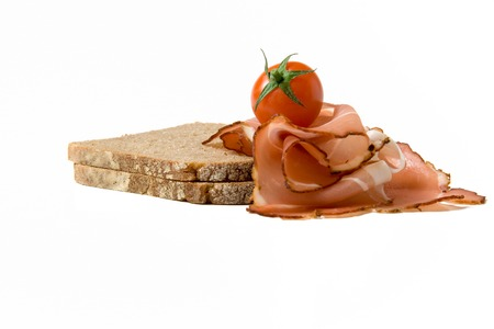Bread with ham and tomato Stock Photo