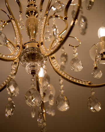 crystal chandelier: crystal chandelier, lamp in macro photography, glamour background
