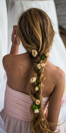 steed: beautiful young girl with long hair with flowers the tenderness of the mystery in a braid steed back roses