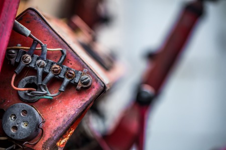 details of a very old tractor, mechanical parts, closeup