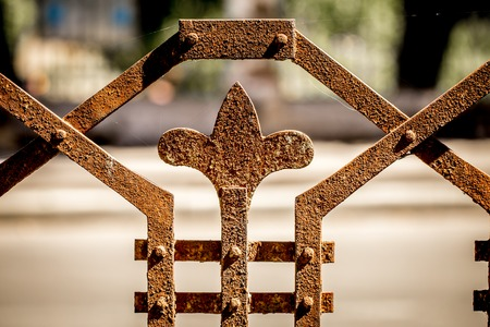 beautiful pattern, metal, old fence,close-up Antiquesrusty fence Stock Photo