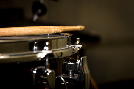 snare drum: stick on a snare drum, musical instrument