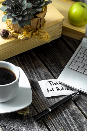 starting a business: Business still life, the concept of starting a business, Building business objects on wooden table Stock Photo