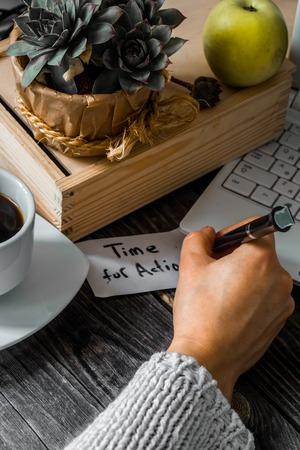 starting a business: Business still life, the concept of starting a business of female hands on a background of wooden working table Stock Photo
