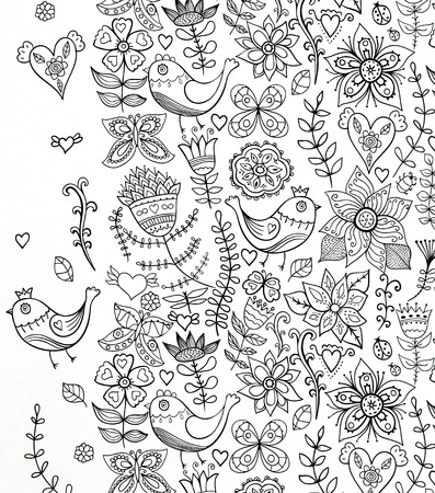house painter: abstraction, black and white drawing, coloring for adults, colors and cheerful mood, seamless pattern, illustration