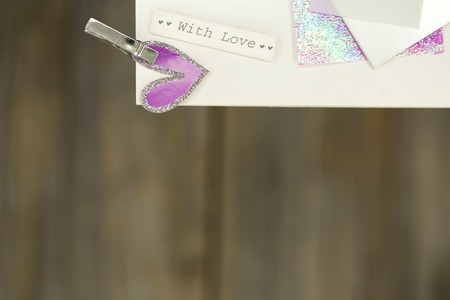 love letter: a beautiful love letter or a card, a text with love, closeup Foto de archivo
