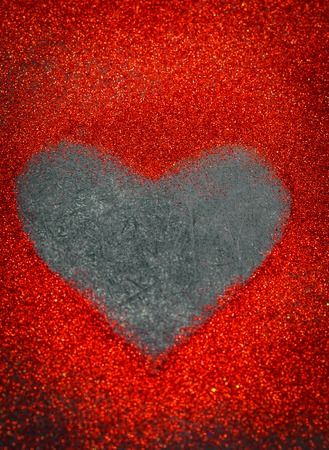 heart of sequins on a black background, Valentine day love concept Stock Photo